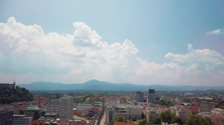 torre : Ljubljana, Slovenia - June 20 2019: Panoramic view of Slovenia capital from the terrace of the Intercontinental hotel