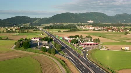 Slovenske Konjice, Slovenia - June 16 2019: Aerial view of truck stop on highway in Slovenia, Tepanje rest area with petrol station is located on the busiest highway towards Ljubljana