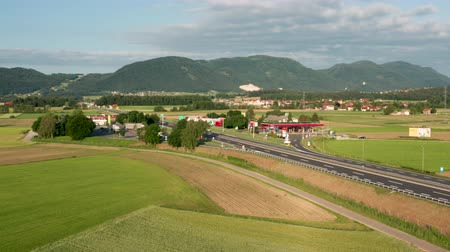 znamení : Slovenske Konjice, Slovenia - June 16 2019: Aerial view of truck stop on highway in Slovenia, Tepanje rest area with petrol station is located on the busiest highway towards Ljubljana
