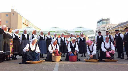 falu : Zagreb, Croatia - June 12, 2019: Folk dance group performs a show for tourists in Zagreb, Croatia, singing and dancing traditional Croatian dances and songs