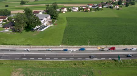 eyaletler arası : Slovenske Konjice, Slovenia - June 16 2019: Aerial view of construction works on Tepanje toll station on A1 highway in Slovenia. Toll stations are removed due introduction of electronic toll payment