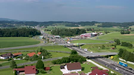 államközi : Slovenske Konjice, Slovenia - June 16 2019: Aerial view of construction works on Tepanje toll station on A1 highway in Slovenia. Toll stations are removed due introduction of electronic toll payment