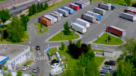 Celje, Slovenia - July 6 2019: Aerial view of Lopata truck stop and petrol station on highway A1 near Celje, Slovenia.
