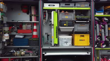 детали : Slovenska Bistrica, Slovenia - September 7, 2019: Rescue equipment inside of fire engine on display by the fire brigade Gasilsko drustvo Slovenska Bistrica, fire engine designed for car accidents