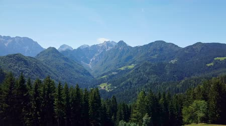 historical : Solcava, August 17 2019: Panoramic view of Logar valley and Kamnik Savinja Alps in Slovenia with pan to a bronze statue of the Lintver dragon on Solcava Panoramic road Stock Footage