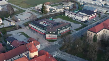 znamení : Slovenska Bistrica, Slovenia - Dec 25 2019: Elektro Maribor branch office in Slovenska Bistrica, aerial view of electricity power supply and grid maintenace company in Slovenia
