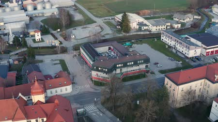 поставщик : Slovenska Bistrica, Slovenia - Dec 25 2019: Elektro Maribor branch office in Slovenska Bistrica, aerial view of electricity power supply and grid maintenace company in Slovenia