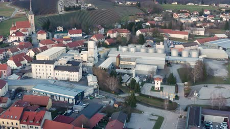Slovenska Bistrica, Slovenia - Dec 25 2019: Aerial view of Gea Oil Mill in Slovenska Bistrica, Slovenia Stok Video