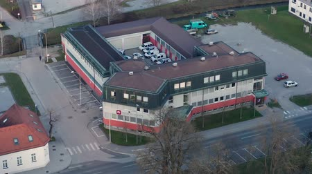 fournitures : Slovenska Bistrica, Slovenia - Dec 25 2019: Elektro Maribor branch office in Slovenska Bistrica, aerial view of electricity power supply and grid maintenace company in Slovenia