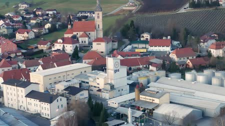 Slovenska Bistrica, Slovenia - Dec 25 2019: Aerial view of Gea Oil Mill in Slovenska Bistrica, Slovenia Стоковые видеозаписи