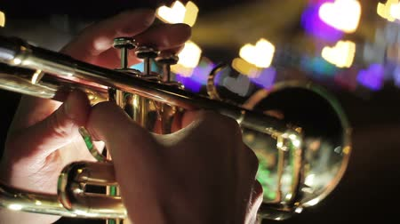 trombeta : man playing trumpet.Background of luminous hearts Stock Footage
