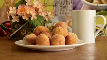 жареный : Cheese donuts on the table Стоковые видеозаписи