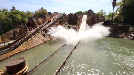 August 2015 - Spain, Catalunya, Salou, PortAventura - Rolling from water slides. Theme Park Amusements.