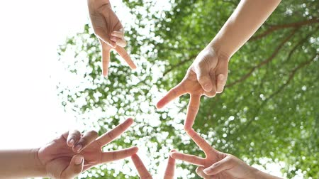 apropriado : 4K. successful team:  five peoples raise two fingers together as a star on sky background. connection people to convey the cooperation in the work.