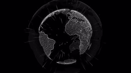 основа : futuristic digital data globe. sense of science , data network surrounding planet earth conveying connectivity and technology abstract graphics Стоковые видеозаписи