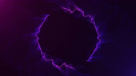 cor de malva : 4K footage of abstract graphic particles violet light running on circle shape on violet background. background violet movement, seamless loop