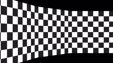 Moving chessboard pattern in perspective, black and white