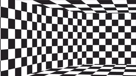 checked pattern : Moving chessboard pattern in perspective, black and white. Stock Footage