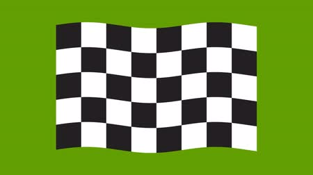 Moving chessboard flag on green background. Black and white geometric design. Stock Footage
