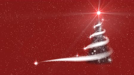 Shine Christmas tree, blizzard, stars, red New Year background. Stock Footage