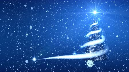 Christmas tree, stars, blizzard, snow, sky, night, blue background for new year project. Stock Footage