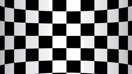 vanish : Moving of a chessboard a background bent in the form of the screen, black and white geometric design. Stock Footage
