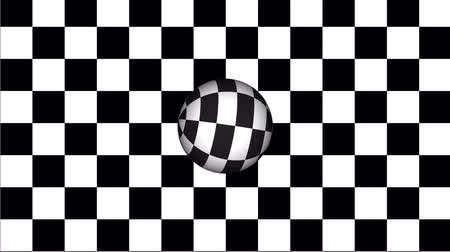 vanish : Moving of a chessboard  and rotating sphere, black and white geometric design.