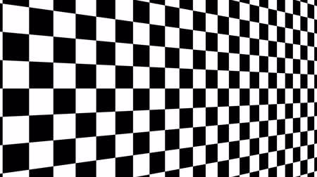 vanish : The movement of the chessboard in a vertical perspective with right to the left. Abstract black and white background Stock Footage