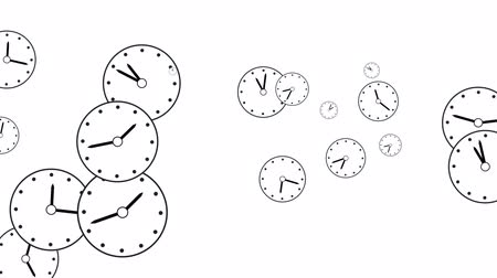 cronômetro : Background of flying clock dials, rotating minute and hour hands, Concept movement is life, Teamwork , Idea Technology, Infinity. Background is white. The movement of the dials from right to left