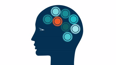 Cog wheels in the head of a person in the form of a brain, the concept of thinking of people Stock Footage
