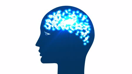 Head, circles in form of brain with glowing with dots thoughts and rays. Concept thinking human, receiving of the information by the person through the sensory channels, of occurrence of thoughts.