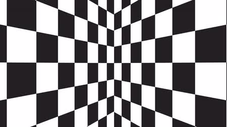 checked pattern : Geometric abstract background from the movement of black and white squares