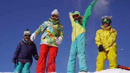 snowboard : Group of snowboarders having fun of the snow mountain