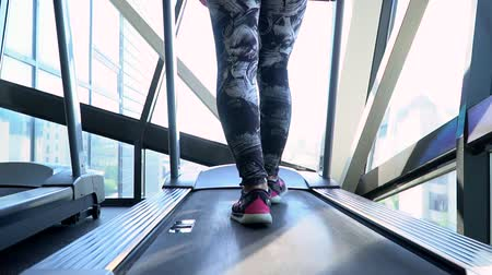 gymnase : The beautiful girl is engaged in the gym. Back view of female legs walking and running on treadmill in gym, woman training