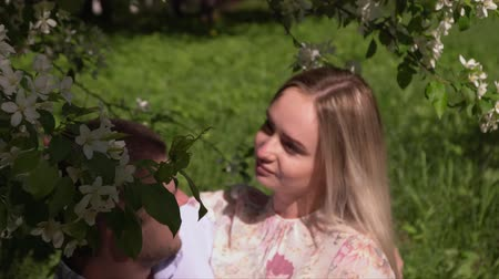 без городского : Young couple kiss on a tree in a garden. The beautiful girl with the guy on a glade. Beautiful couple enjoys weather in the small summer wood. Стоковые видеозаписи