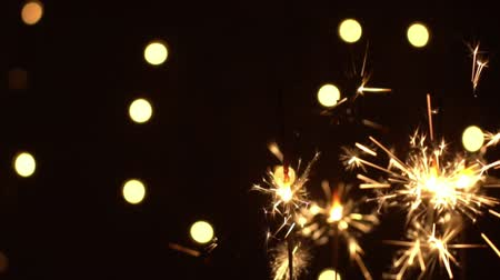 pirotecnia : Sparks and festive fires on a black background. Fireworks Christmas.