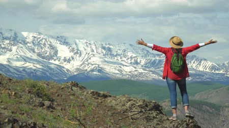 wet t shirt : The woman the traveler in a red shirt and with a green backpack costs on the hill and looks at snow mountains. Stock Footage