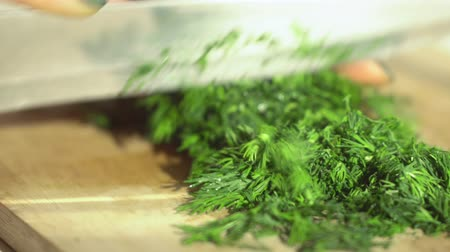 fennel : Woman chef. Female hands cut fresh spicy herbs. Healthy food. Close up. 4K.