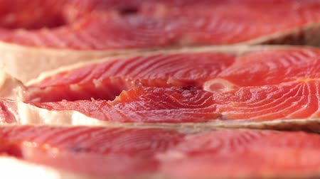 刺身 : Macro salmon steaks. Rotation. 動画素材