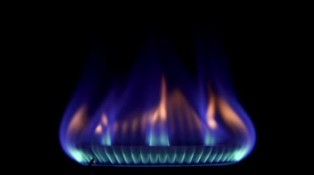 gas hob : Stove top burner igniting into a blue cooking flame in slow motion 120fps. Close up.