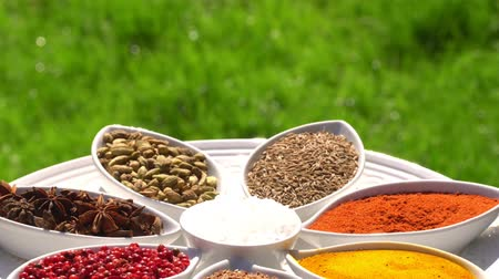 koriander : Spices. Various Indian. Spice and herbs rotate. Assortment of Seasonings, condiments. Cooking ingredients, flavor. 4K video.