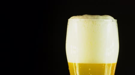 fabricado cerveja : Cold Light Beer in a glass with water drops. Craft Beer close up. Rotation 360 degrees. 4K UHD video 3840x2160.There are no people. Vídeos