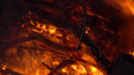 fireball : Burning fire. Bonfire. Closeup of flames burning on black background, slow motion. Stock Footage