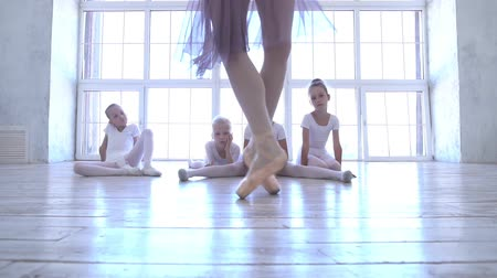 özel öğretmen : Ballet School. Small ballerinas learn to dance. Beautiful view. Stok Video