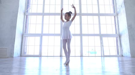 規律 : Ballet School. Small ballerinas learn to dance. Beautiful view. 動画素材