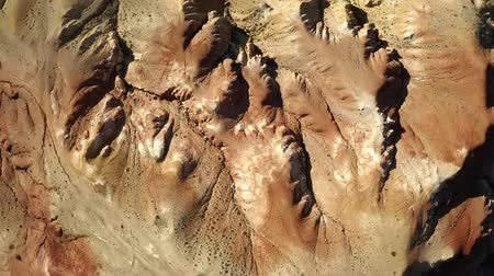 Марс : Colored rocks . Martian landscape. Flying over red rock formation in Southern mountains. Aerial shot, 4K.