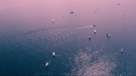 регата : Lot of sailing yachts sail open sea oceans. Sport navigation regatta competition. Freedom extreme tour. Associated wind blue water horizon. Aerial Drone Top