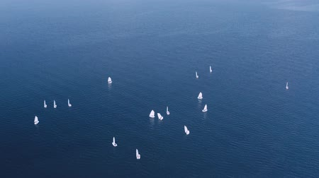 oceány : Lot of sailing yachts sail open sea oceans. Sport navigation regatta competition. Freedom extreme tour. Associated wind blue water horizon. Aerial Drone Top