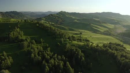 akacja : Aerial Drone Footage View: Flying over spring mountains, hills and meadows with pine forests in sun soft light. Europe. Beautiful landscape