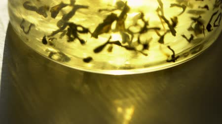 infusion : Brewing green tea in transparent kettle close-up. exotic green tea flowers in glass teapot, Macro shot of the process of brewing herbal, 4K